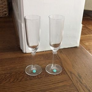 Pair of Unused Crystal Tiffany Champagne Glasses